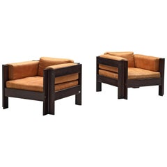 Sergio Asti Pair of 'Zelda' Lounge Chairs in Cognac Leather
