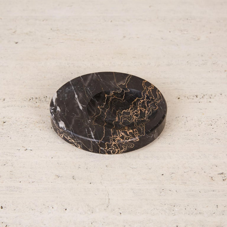 Sergio Asti Style Nero Marquina Marble Bowl In Excellent Condition For Sale In Los Angeles, CA