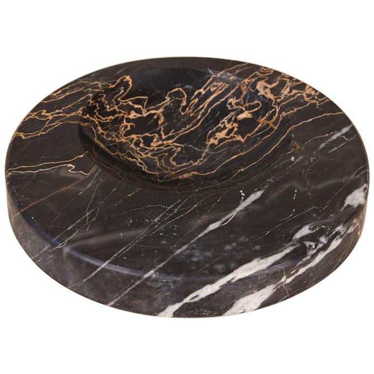 Sergio Asti Style Nero Marquina Marble Bowl For Sale