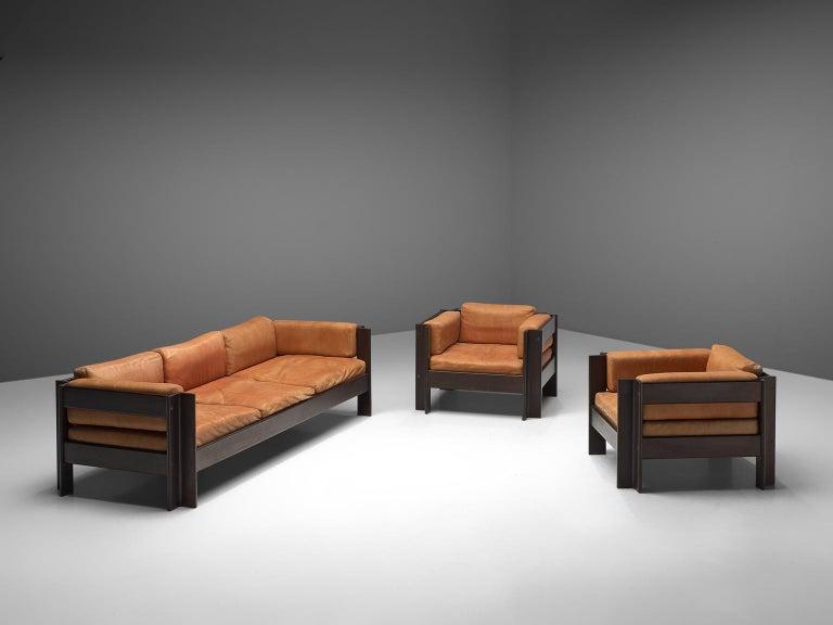 Mid-Century Modern Sergio Asti 'Zelda Lounge Set in Cognac Leather For Sale