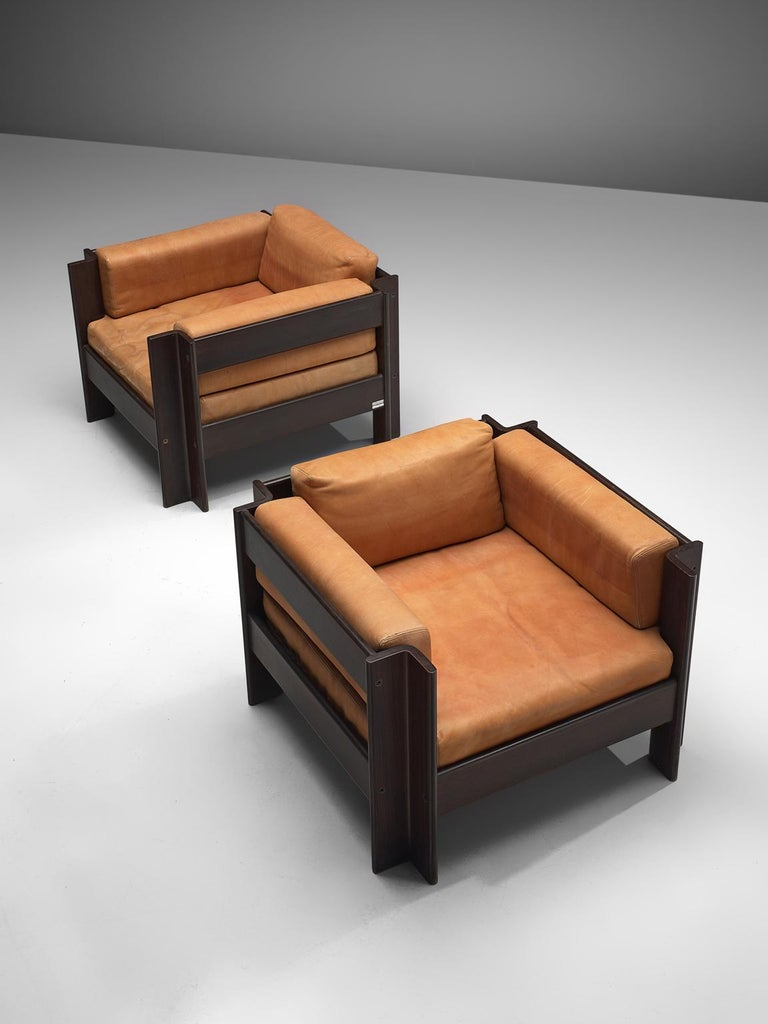 Sergio Asti 'Zelda Lounge Set in Cognac Leather For Sale 1