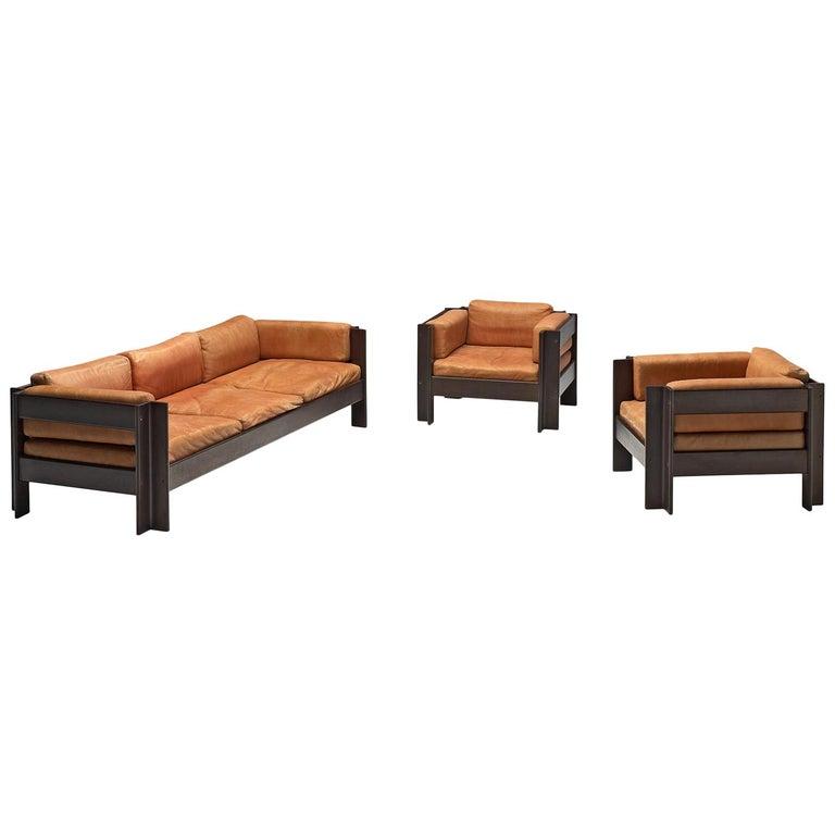 Sergio Asti 'Zelda Lounge Set in Cognac Leather For Sale