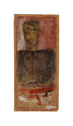Figure - Original Mixed Media on Cardboard by Sergio Barletta - 1958