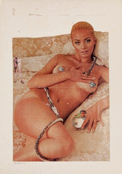 Nude and Snake - Original Collage and Tempera by Sergio Barletta - 1975