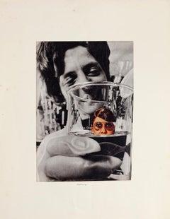 Woman in Measuring Container - Original Collage by Sergio Barletta - 1975