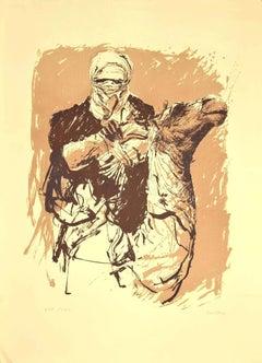 Camel - Original Lithograph on Cardboard by Sergio Barletta - 1980s