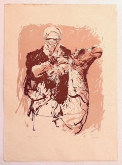 Camel Rider - Original Lithograph on Carboard by Sergio Barletta - 1980s