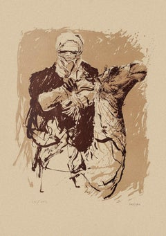 Camel Rider - Original Lithograph on Cardboard by Sergio Barletta - 1980s