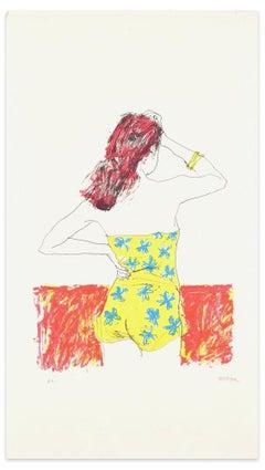 Nuda - Original Lithograph by Sergio Barletta - 1970s
