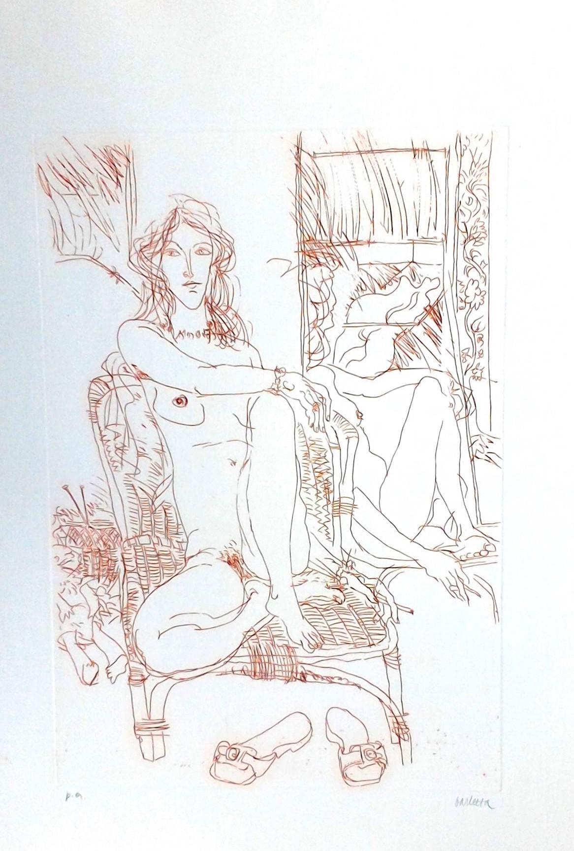 Nude Model - Original Etching by Sergio Barletta - 1970s