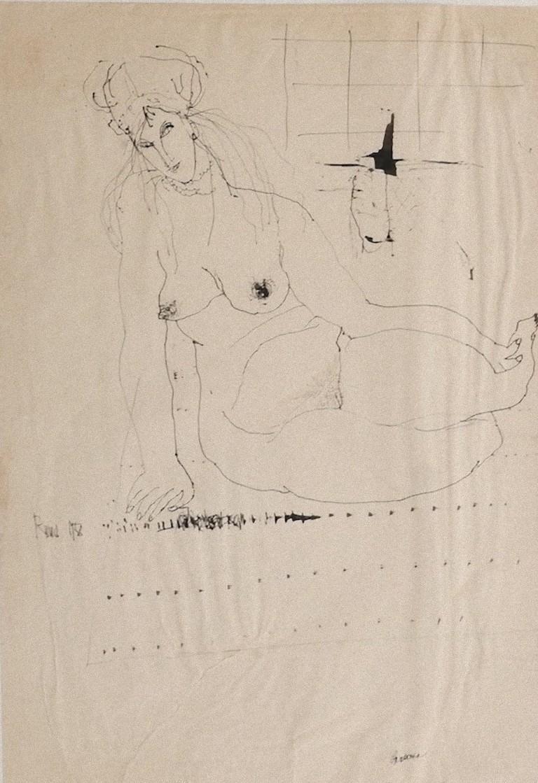 Nude - Original Drawing in Pen by Sergio Barletta - 1958