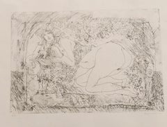Nude - Original Etching by Sergio Barletta - 1972
