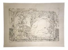 Nude - Original Etching by Sergio Barletta - 1980