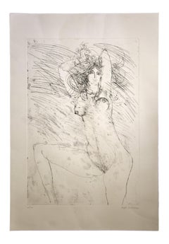 Nude - Original Etching by Sergio Barletta - 1980