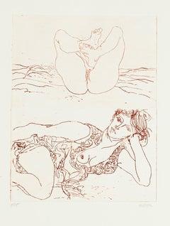 Nude - Original Etching by Sergio Barletta - 1980s