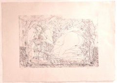 Nude  - Original Etching on Cardboard by Sergio Barletta - 1970s