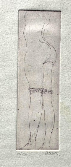 Nude - Original Etching on Paper by Sergio Barletta - 1970s