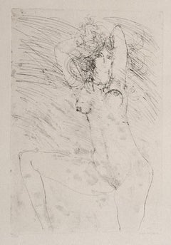 Nude - Original Etching on Paper by Sergio Barletta - 1972