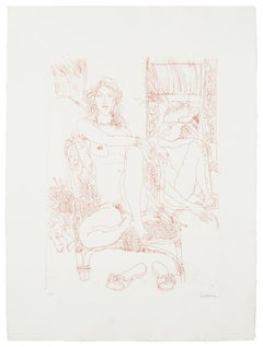 Nude - Original Etching on Paper by Sergio Barletta - 1980s