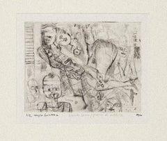 Nude - Original Hand-colored Etching by Sergio Barletta - 20th Century