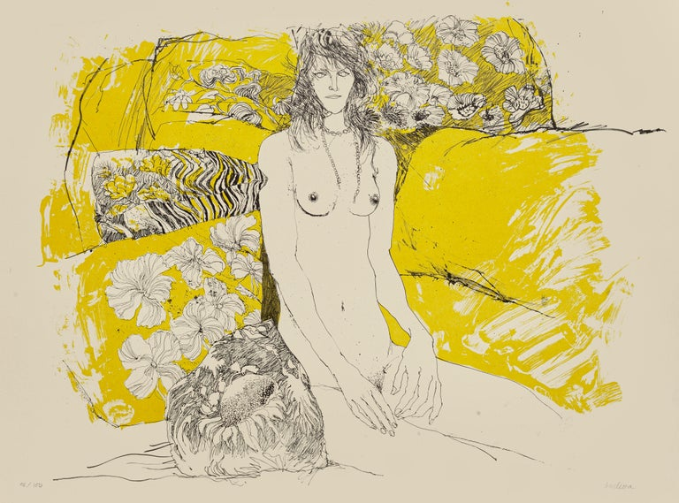 Nude is an original lithograph on paper realized by Sergio Barletta.  Hand-signed on the lower right in pencil. Numbered in pencil on the lower left, edition of 96/100 prints.  In good conditions, except for some folding along the margins which do