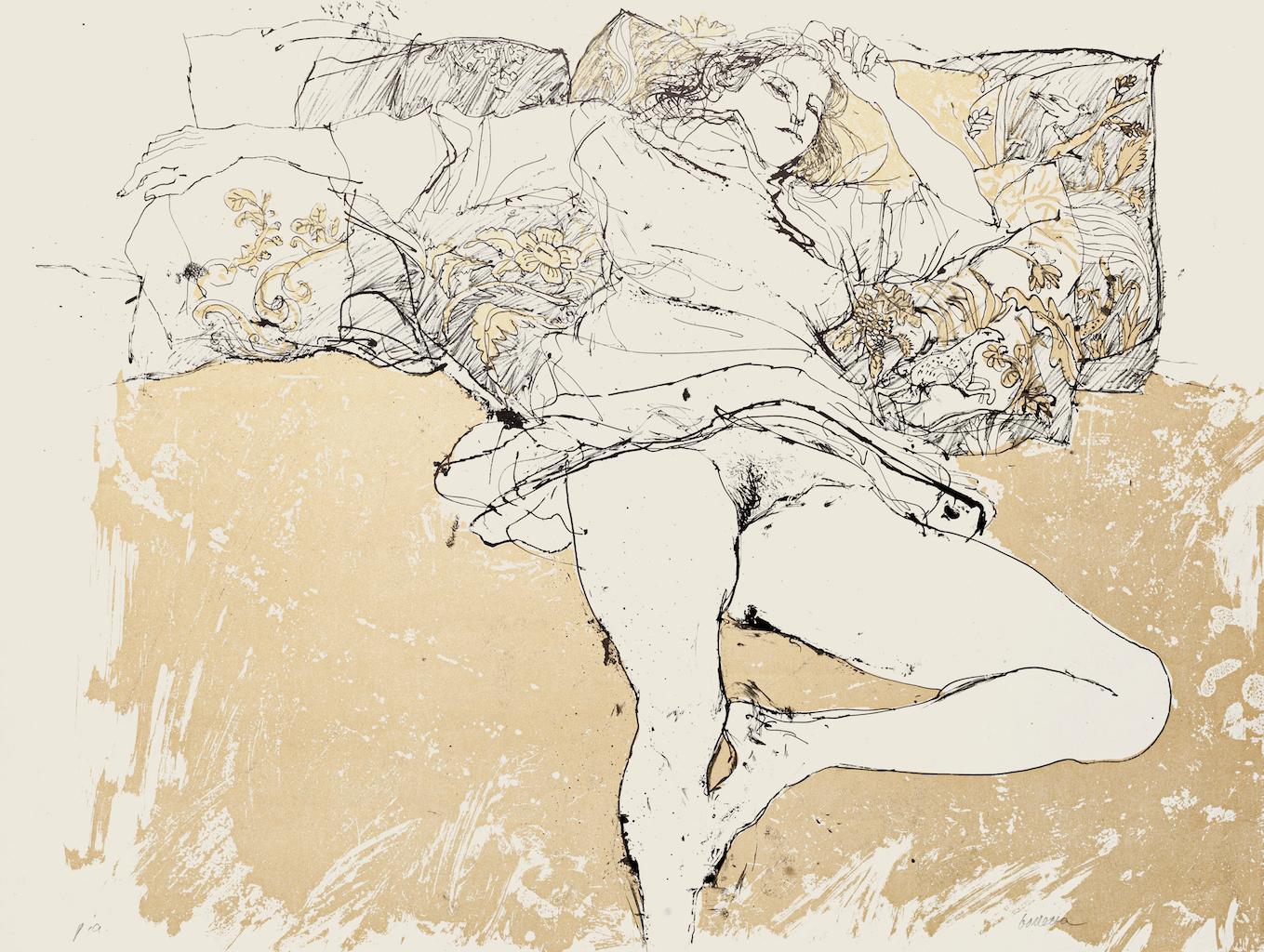 Nude - Original Lithograph on Paper by Sergio Barletta - 1980