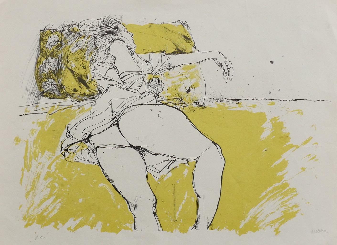 Nude - Original Lithography by Sergio Barletta - 1980s