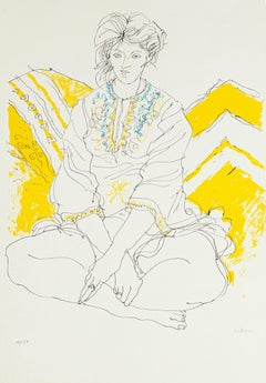 Seated Woman - Original Lithograph by Sergio Barletta - 1980's