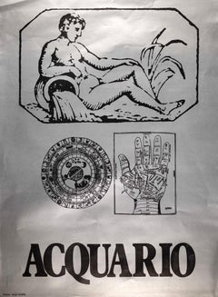 Segno Zodiacale Acquario - Original Screen-Print by Sergio Barletta - 1973