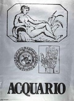 Segno Zodiacale Acquario - Original Screen Print by Sergio Barletta - 1973