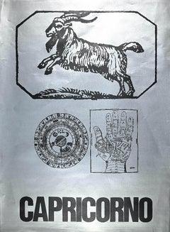 Segno Zodiacale Capricorno - Original Screen Print by Sergio Barletta - 1973