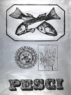 Segno Zodiacale Pesci - Original Screen Print by Sergio Barletta - 1973