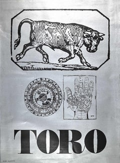 Segno Zodiacale Toro - Original Screen Print by Sergio Barletta - 1973