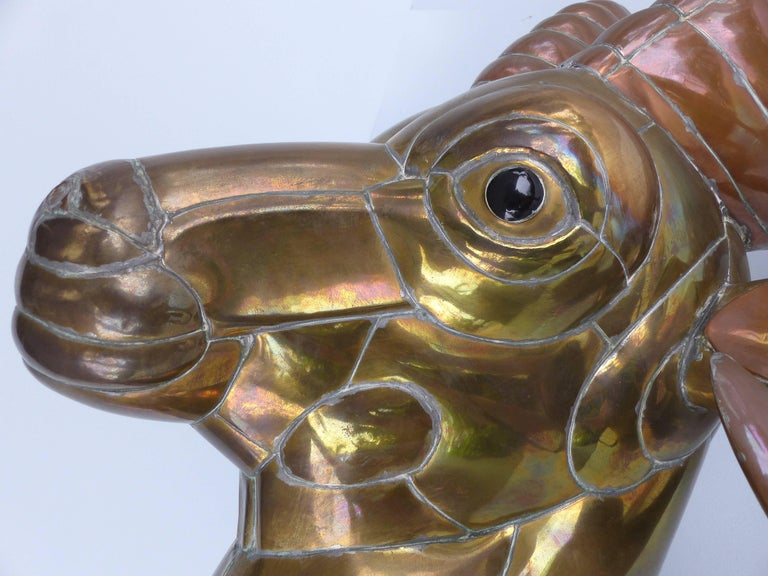 Sergio Bustamante 1970s Mexican Mixed Metals Ram's Head Wall Sculpture 5