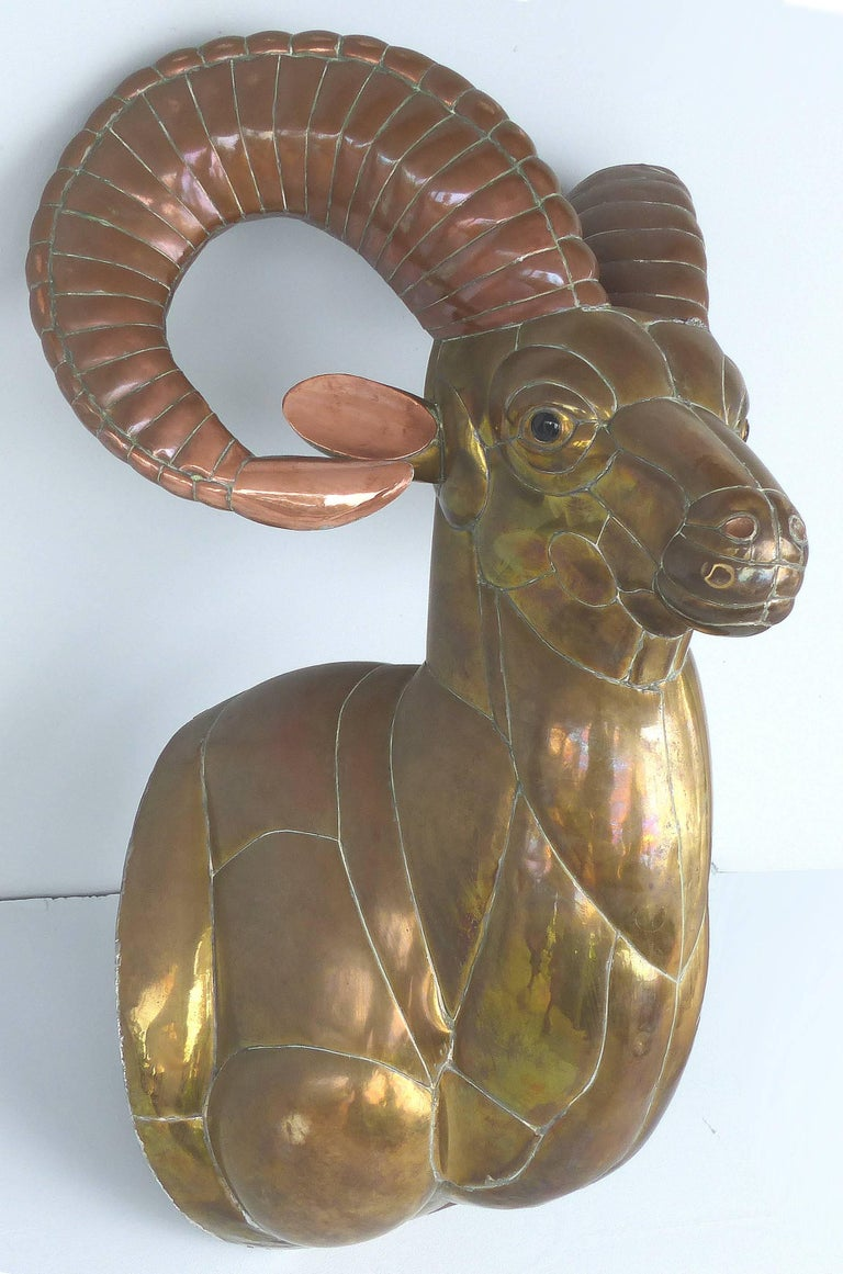 Sergio Bustamante 1970s Mexican mixed metals Ram's Head wall sculpture