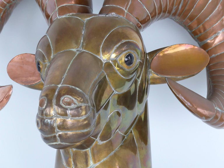 Brass Sergio Bustamante 1970s Mexican Mixed Metals Ram's Head Wall Sculpture