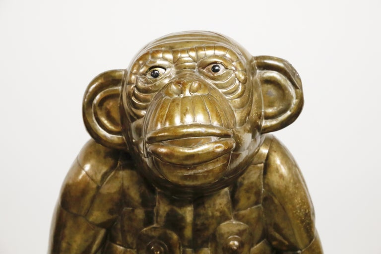 Sergio Bustamante Tall Brass Monkey and Chair, 1970s, Signed For Sale 4
