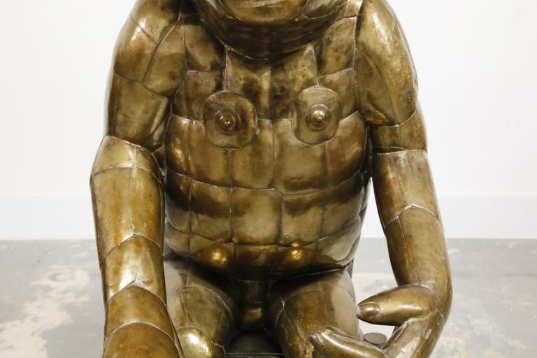 Sergio Bustamante Tall Brass Monkey and Chair, 1970s, Signed For Sale 5
