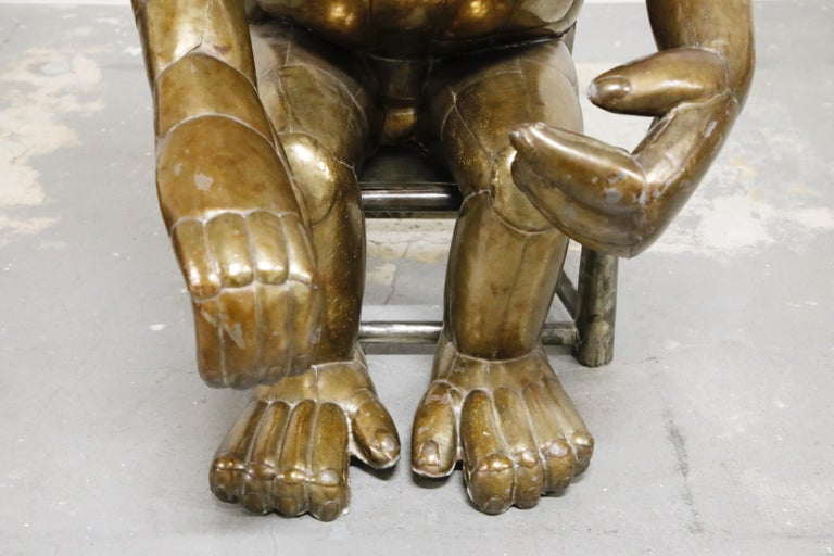 Sergio Bustamante Tall Brass Monkey and Chair, 1970s, Signed For Sale 6