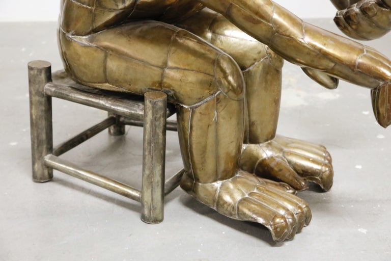 Sergio Bustamante Tall Brass Monkey and Chair, 1970s, Signed For Sale 11
