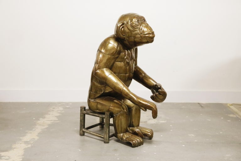 Mexican Sergio Bustamante Tall Brass Monkey and Chair, 1970s, Signed For Sale