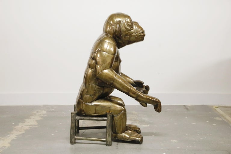 Sergio Bustamante Tall Brass Monkey and Chair, 1970s, Signed In Good Condition For Sale In Los Angeles, CA