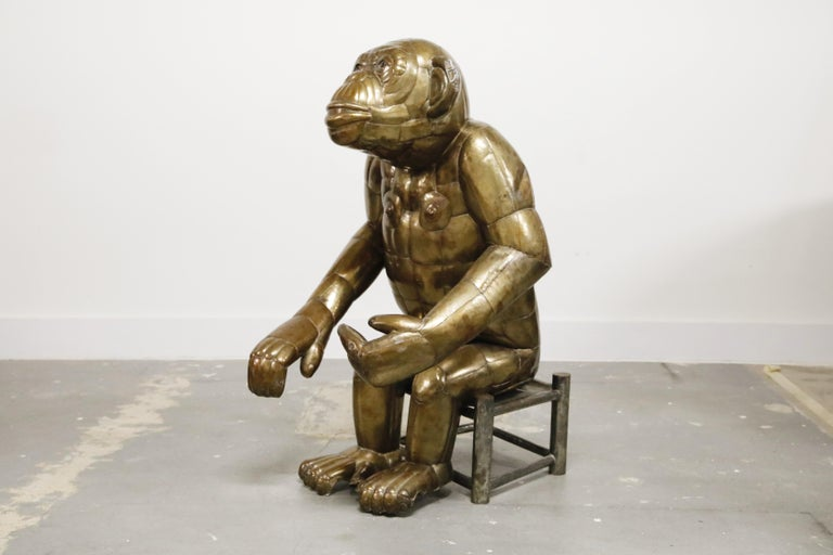 Sergio Bustamante Tall Brass Monkey and Chair, 1970s, Signed For Sale 3