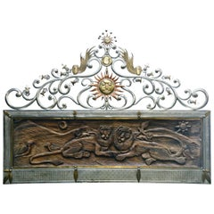 Sergio Bustamante Attr Carved Wood, Copper and Brass King Sized Headboard c 1970