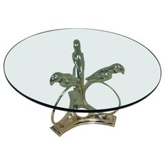 Sergio Bustamante Brass Midcentury Hollywood Regency Coffee Table, circa 1970s