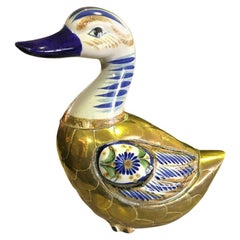 Sergio Bustamante Copper and Brass Duck Sculpture
