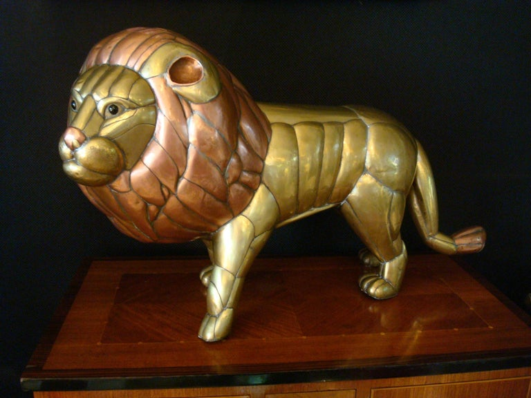 Sergio Bustamante Copper and Brass Lion Sculpture Mexico, 1970s For Sale 4