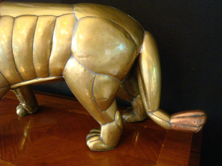 Sergio Bustamante Copper and Brass Lion Sculpture Mexico, 1970s For Sale 5