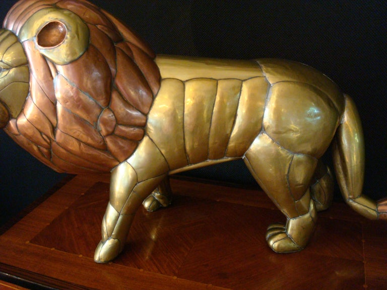 Sergio Bustamante Copper and Brass Lion Sculpture Mexico, 1970s For Sale 6