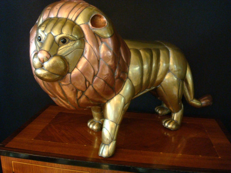 Sergio Bustamante Copper and Brass Lion Sculpture Mexico, 1970s For Sale 2